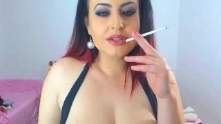 Hot busty cam smoker